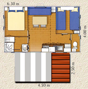plan mobile home 25 m²